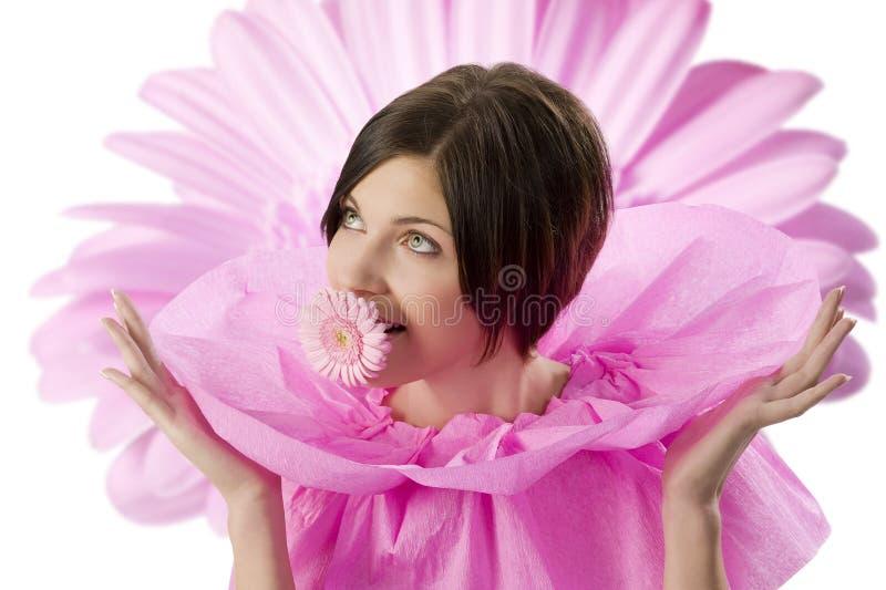 Meisje en roze bloem royalty-vrije stock afbeelding