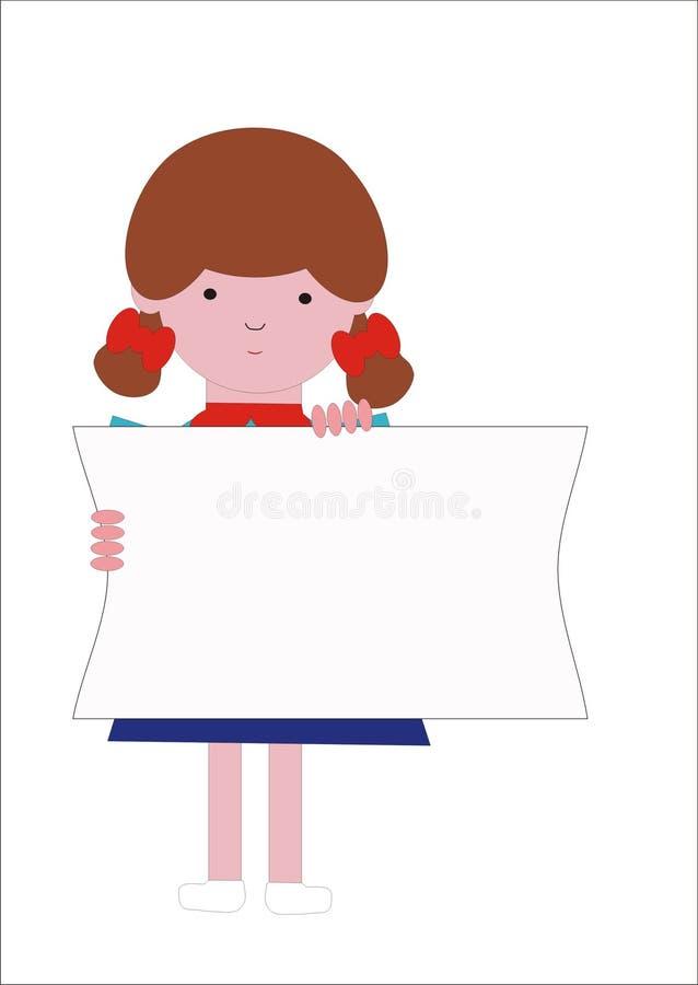 Meisje en sloganbanner stock illustratie
