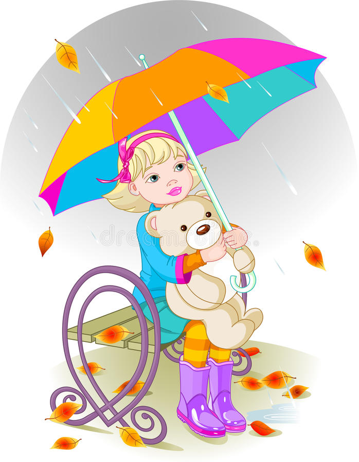 Meisje en Teddybeer stock illustratie