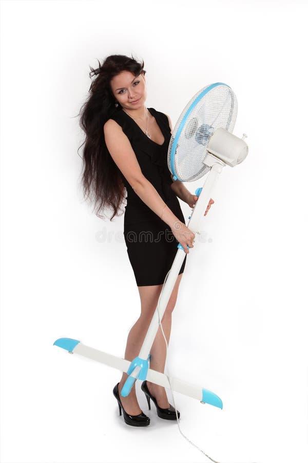 Meisje en ventilator royalty-vrije stock fotografie