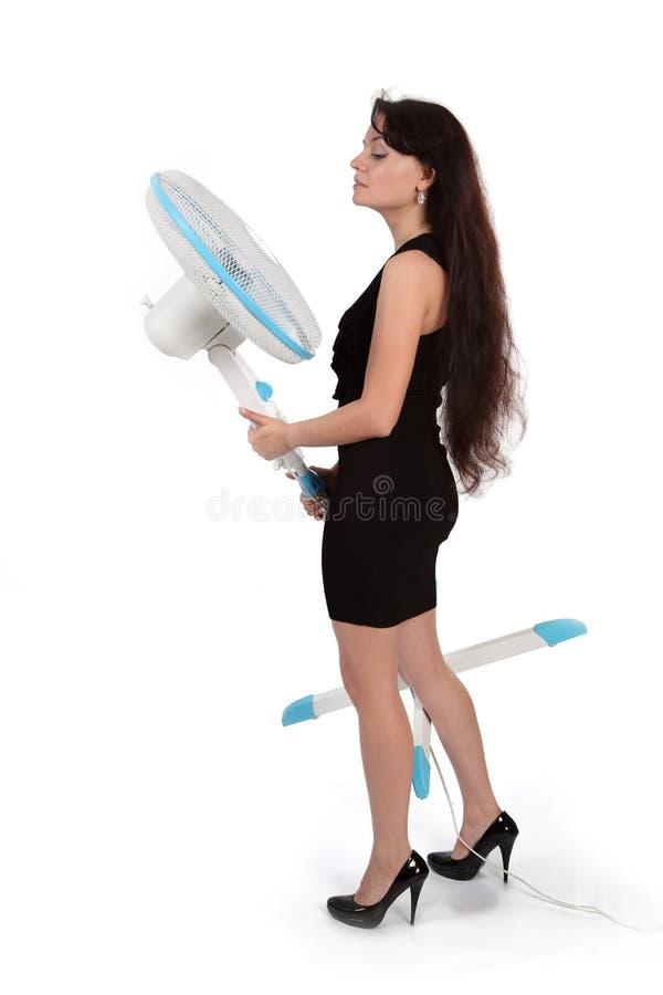 Meisje en ventilator stock foto's