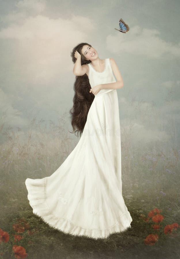 Meisje en Vlinder royalty-vrije stock foto