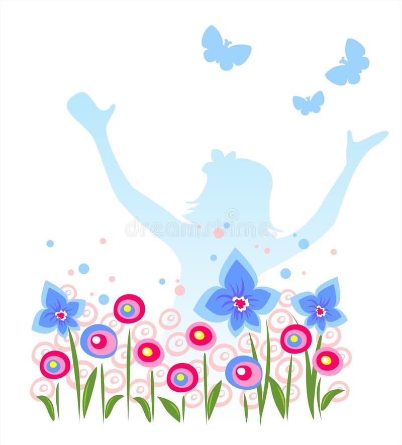 Meisje en vlinders stock illustratie