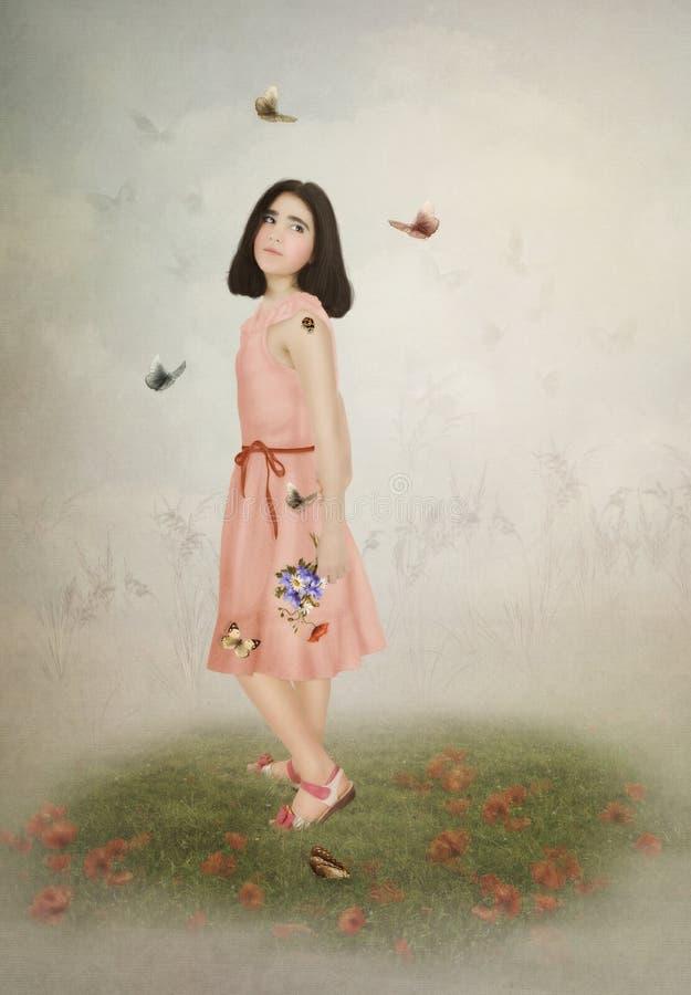 Meisje en vlinders royalty-vrije stock foto's
