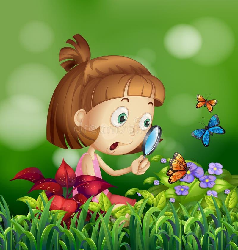 Meisje en vlinders vector illustratie