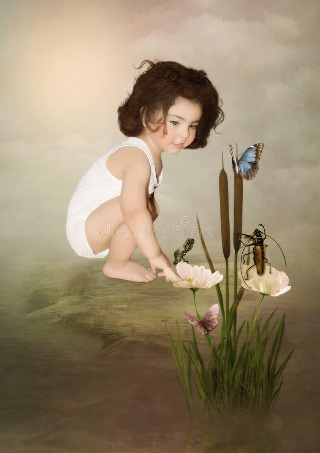Meisje en vlinders royalty-vrije stock afbeeldingen