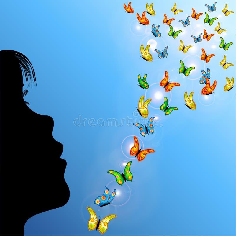 Meisje en vlinders in hemel royalty-vrije illustratie