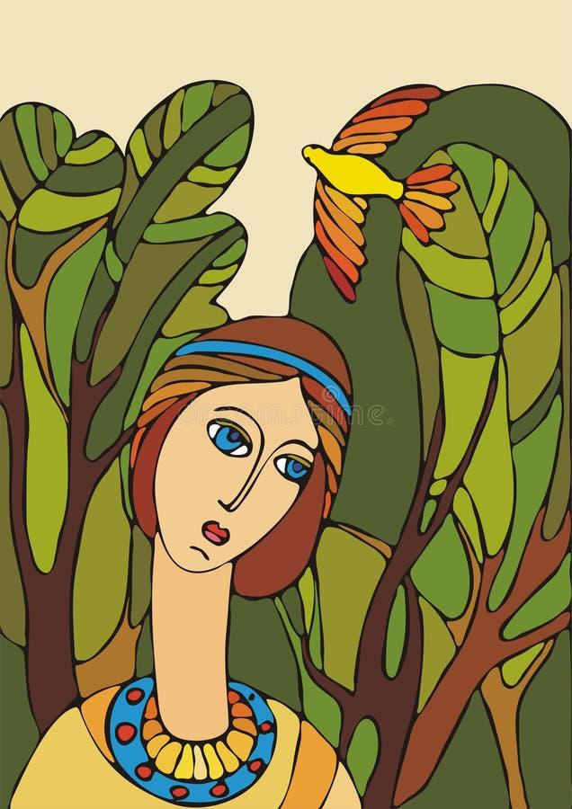 Meisje en vogel stock illustratie