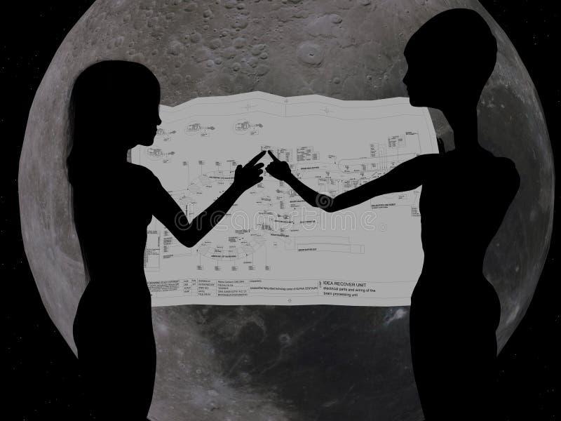 Meisje en vreemdeling die CAD controleren stock illustratie
