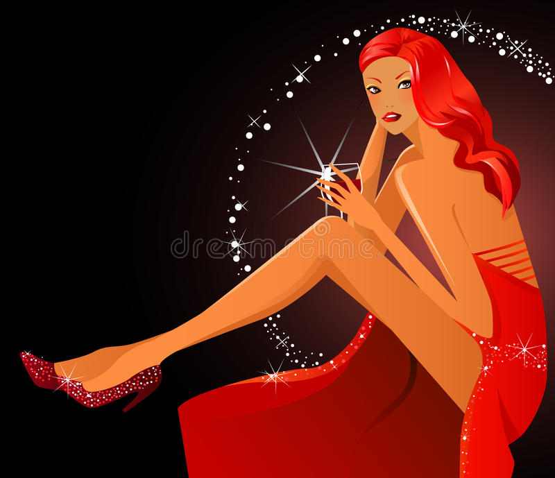 Meisje en wijn royalty-vrije illustratie