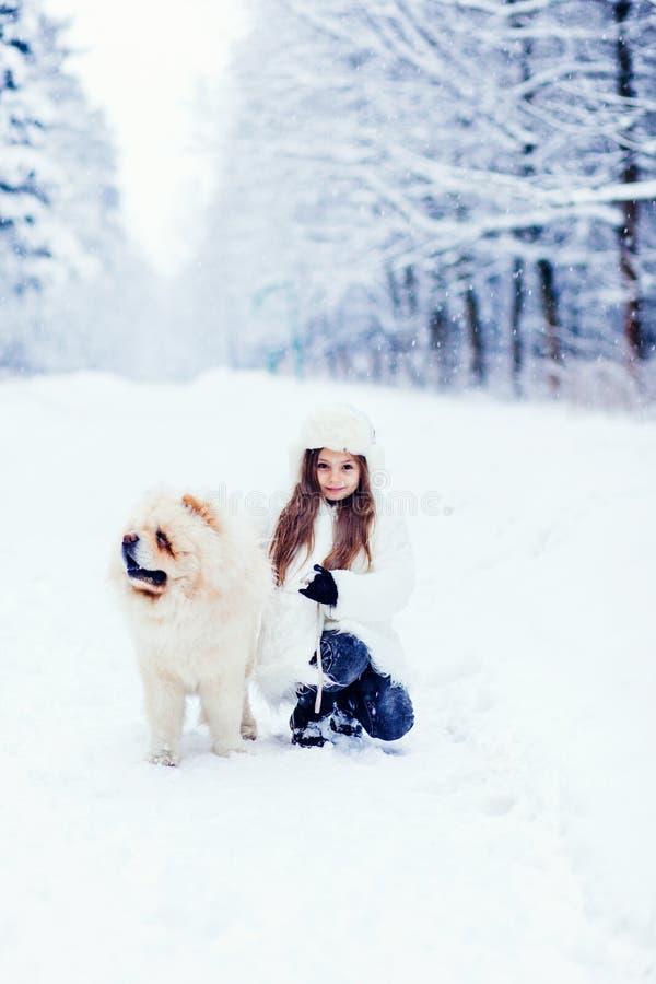 Meisje en zijn hond bij het park van de de wintersneeuw stock afbeeldingen