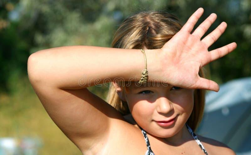 Meisje en zon royalty-vrije stock foto's