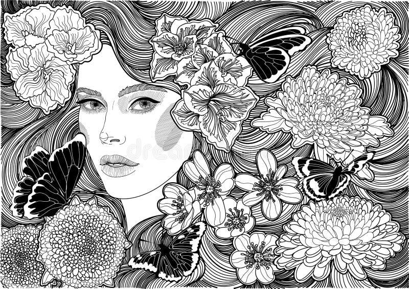 Meisje en zwart-witte bloemen en vlinders stock afbeeldingen