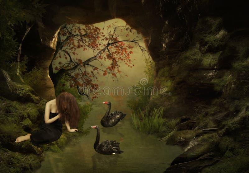 Meisje en zwarte zwanen royalty-vrije stock foto