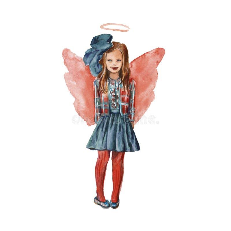 Meisje-engel in rood Geïsoleerde watercolor royalty-vrije illustratie