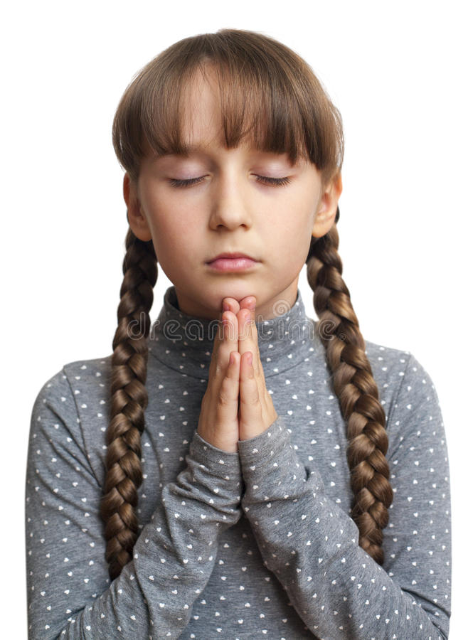 Meisje geïsoleerd bidden, royalty-vrije stock afbeelding