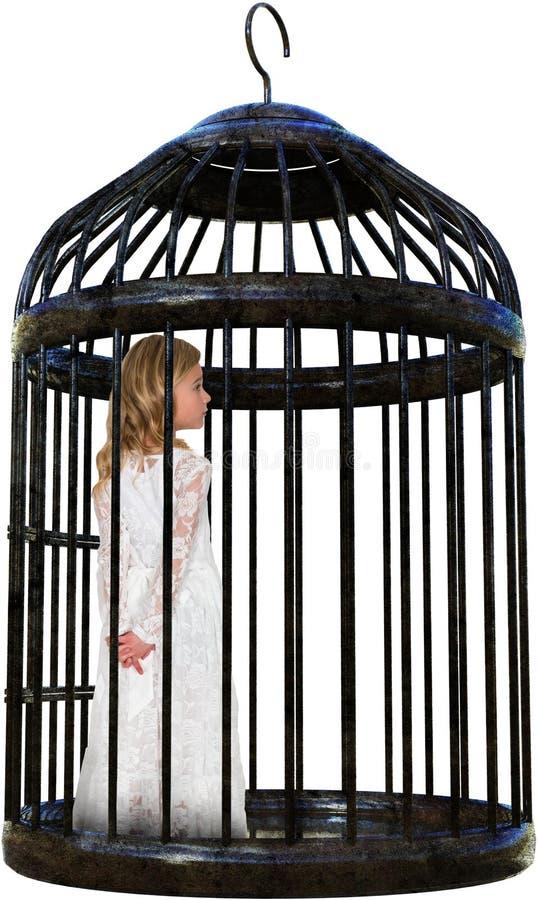 Meisje, Geïsoleerd Opgesloten Vogelkooi, royalty-vrije stock afbeelding