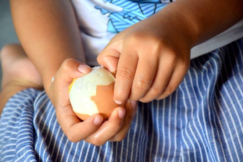 Meisje gepelde gegeten eieren stock foto's