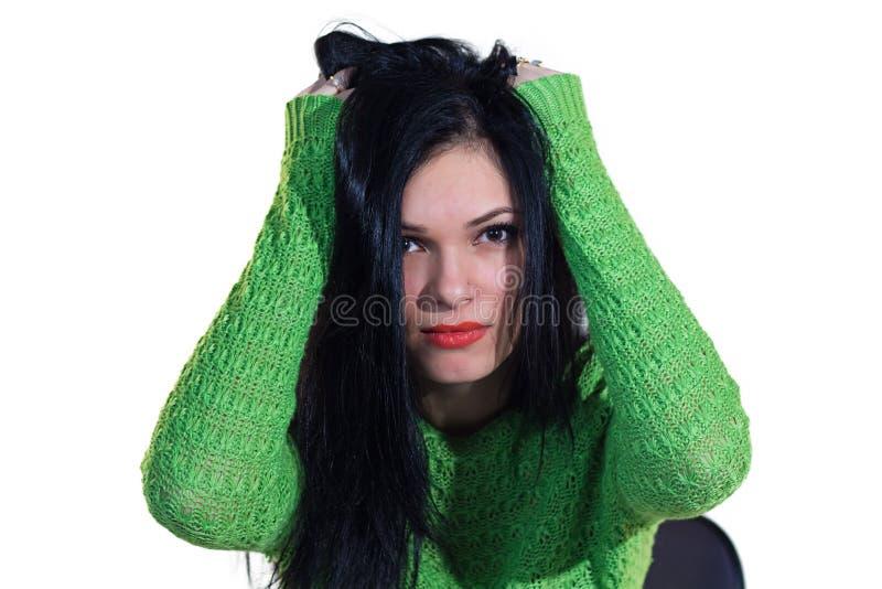 Meisje in groene sweater royalty-vrije stock fotografie