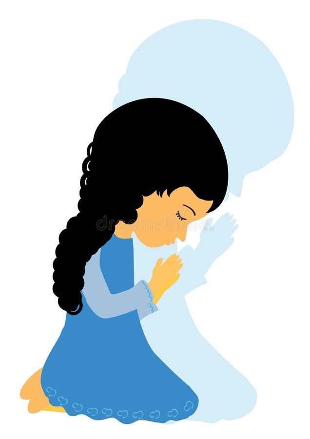 Meisje het bidden royalty-vrije illustratie