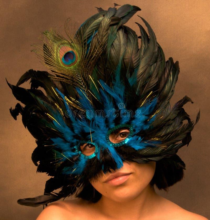 Meisje in het Blauwe Masker van Mardi Gras royalty-vrije stock afbeelding