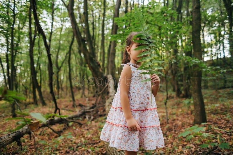 Meisje in het bos met varens royalty-vrije stock afbeelding