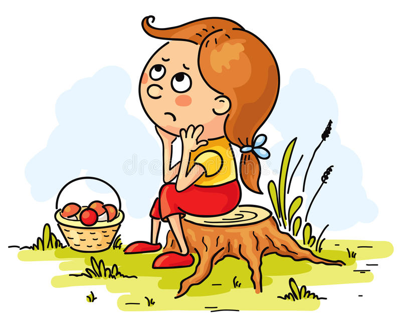 Meisje in het hout wordt verloren dat vector illustratie