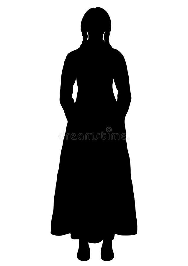 Meisje in het Italiaans nationaal kostuumsilhouet, vectoroverzichtsportret, zwart-witte contourtekening Vrouw van gemiddelde leng royalty-vrije illustratie
