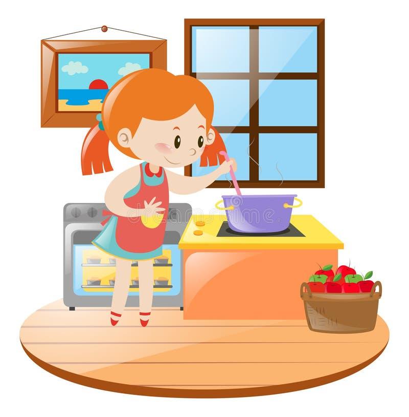 Meisje het koken in de keuken royalty-vrije illustratie