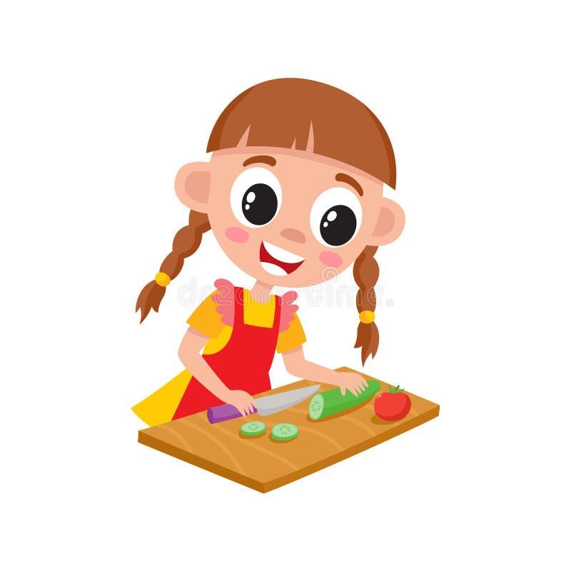 Meisje het koken, het snijden komkommer voor salade stock illustratie