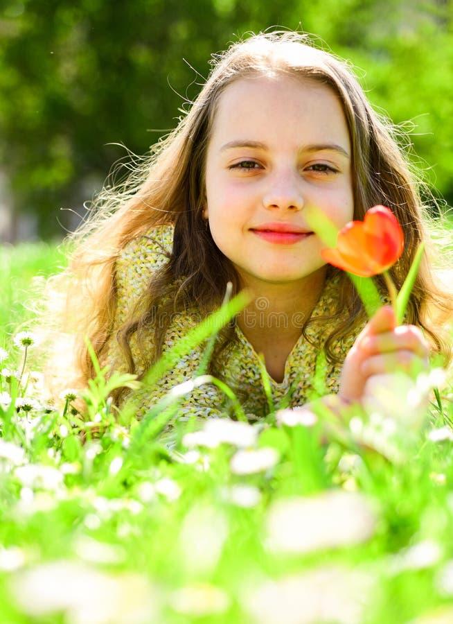 Meisje het liggen op gras, aard op achtergrond, defocused Het kind geniet de lente van zonnige dag terwijl het liggen bij weide M stock afbeelding