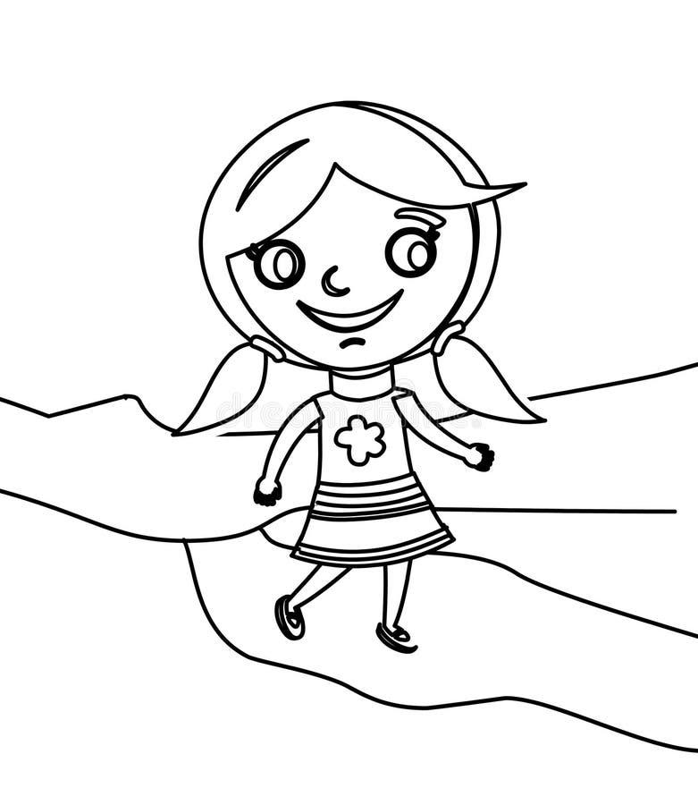 Meisje het lopen kleurende pagina stock illustratie