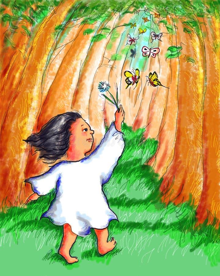 Meisje het Lopen het Spelen Vlindersbos vector illustratie