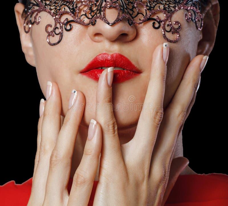 Meisje in het maskerademasker royalty-vrije stock foto's