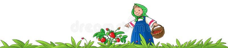 Meisje het plukken bessen royalty-vrije illustratie