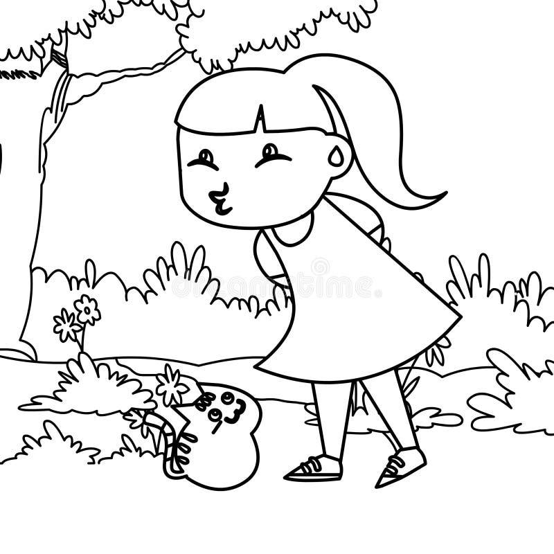 Meisje het pruilen lippen die pagina kleuren royalty-vrije illustratie