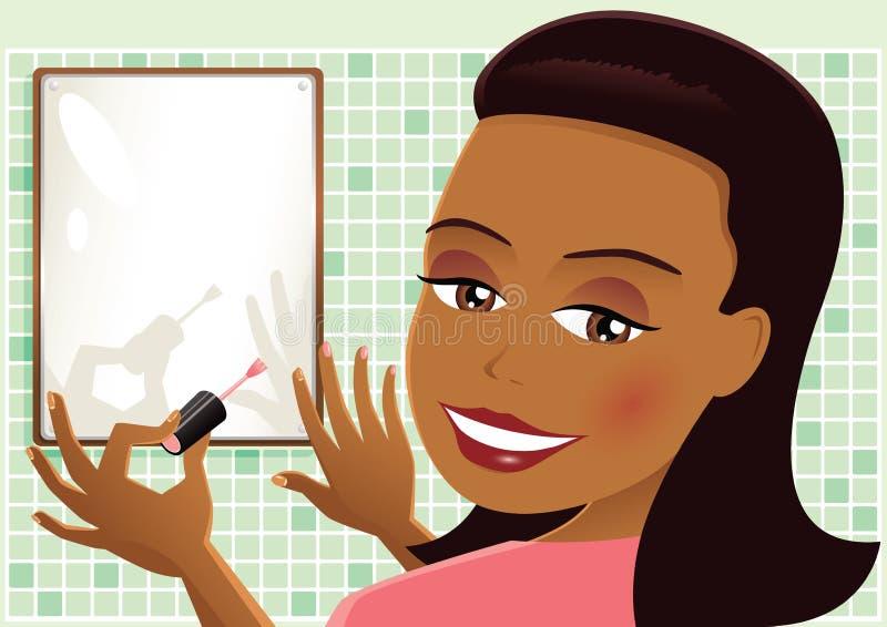 Meisje het schilderen spijkersroze vector illustratie