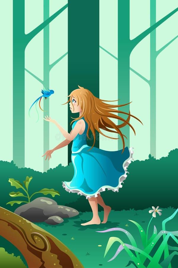 Meisje het spelen met een vogel vector illustratie