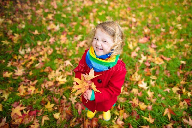 Meisje het spelen met esdoornblad in de herfst stock afbeeldingen