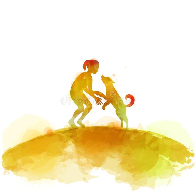 Meisje het spelen met hondsilhouet op waterverfachtergrond Het concept vertrouwen, vriendschap en huisdierenzorg Het digitale kun vector illustratie