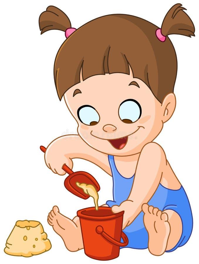 Meisje het spelen met zand stock illustratie