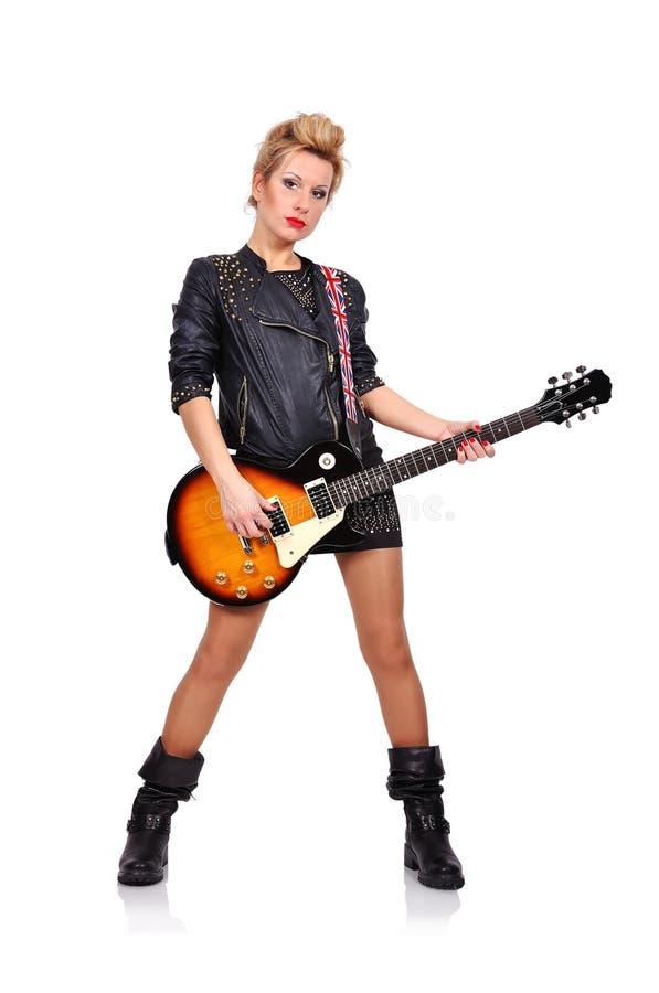 Meisje het spelen op gitaar stock fotografie