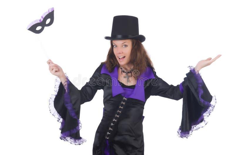 Meisje in het violette en zwarte masker van de kledingsholding royalty-vrije stock afbeelding