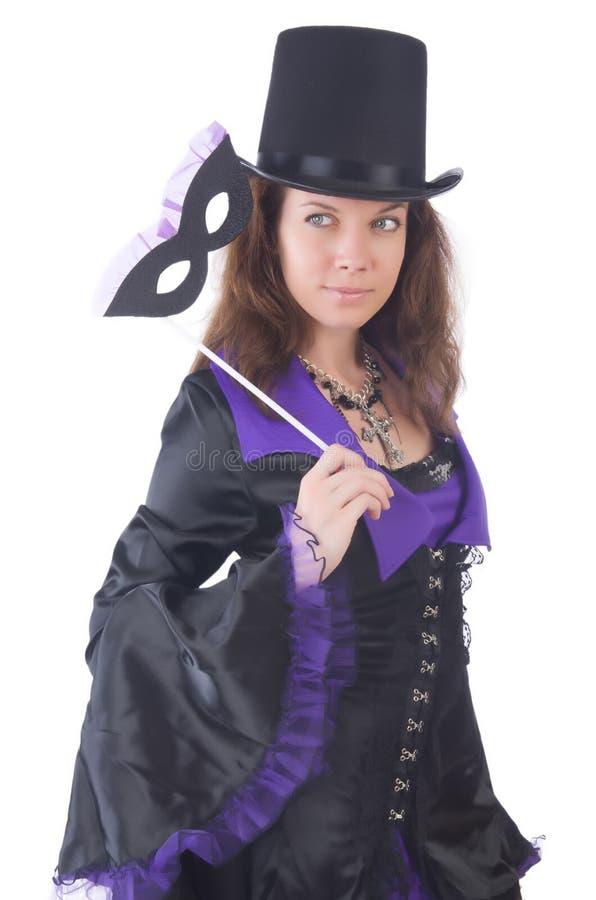 Meisje in het violette en zwarte masker van de kledingsholding royalty-vrije stock foto's