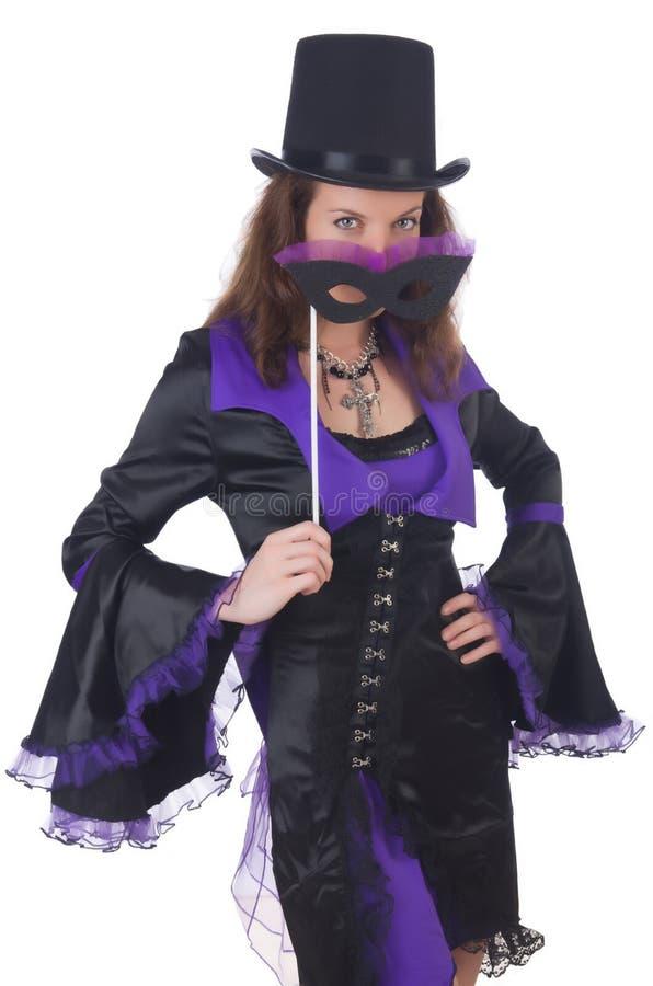 Meisje in het violette en zwarte masker van de kledingsholding royalty-vrije stock afbeeldingen