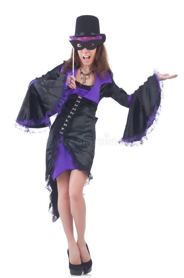Meisje in het violette en zwarte masker van de kledingsholding stock foto