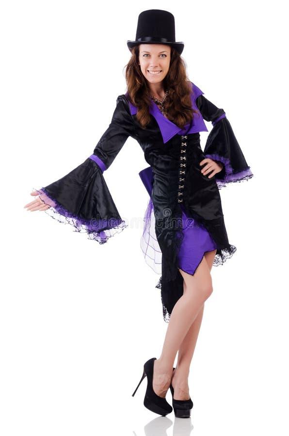 Meisje in het violette en zwarte masker van de kledingsholding stock fotografie