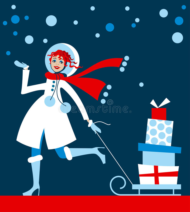 Meisje in het winkelen van Kerstmis vector illustratie