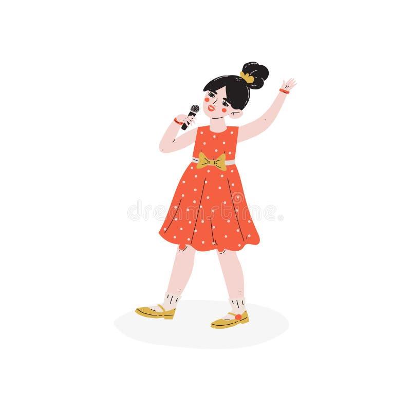 Meisje het Zingen met Begaafde Microfoon, Weinig Zanger Character, Hobby, Onderwijs, de Creatieve Vector van de Kindontwikkeling vector illustratie