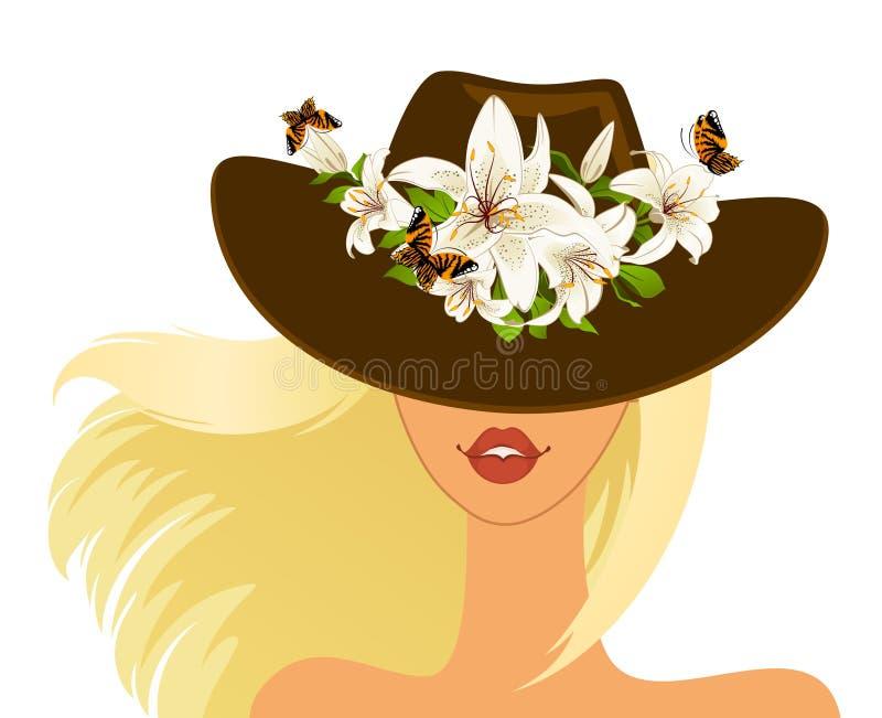 Meisje in hoed royalty-vrije illustratie
